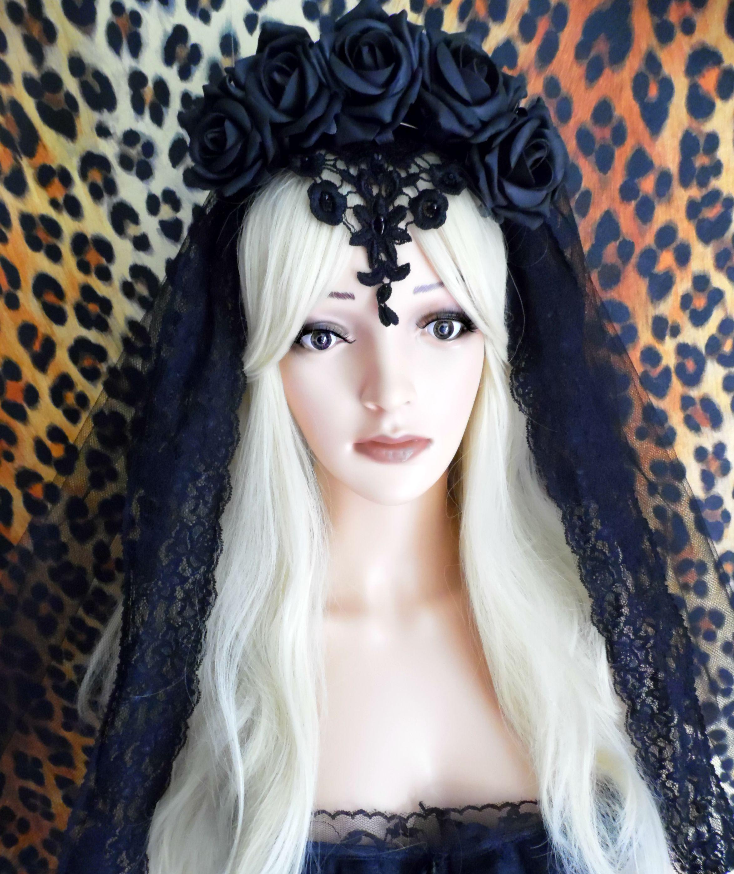 Black Flower Crown Gothic Flower Crown Black Flower: Gothic Flower Crown Black Veil Day Of The Dead Halloween