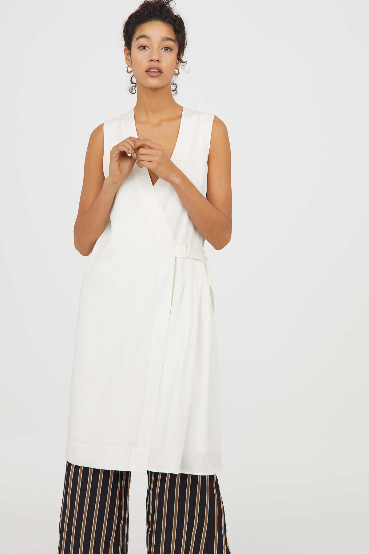 White Conscious Sleeveless V Neck Dress In Woven Tencel Lyocell Wrap Front With Inner Button Tab At Waist With D Rings An Dkny Dress White Dress Dresses [ 1800 x 1200 Pixel ]