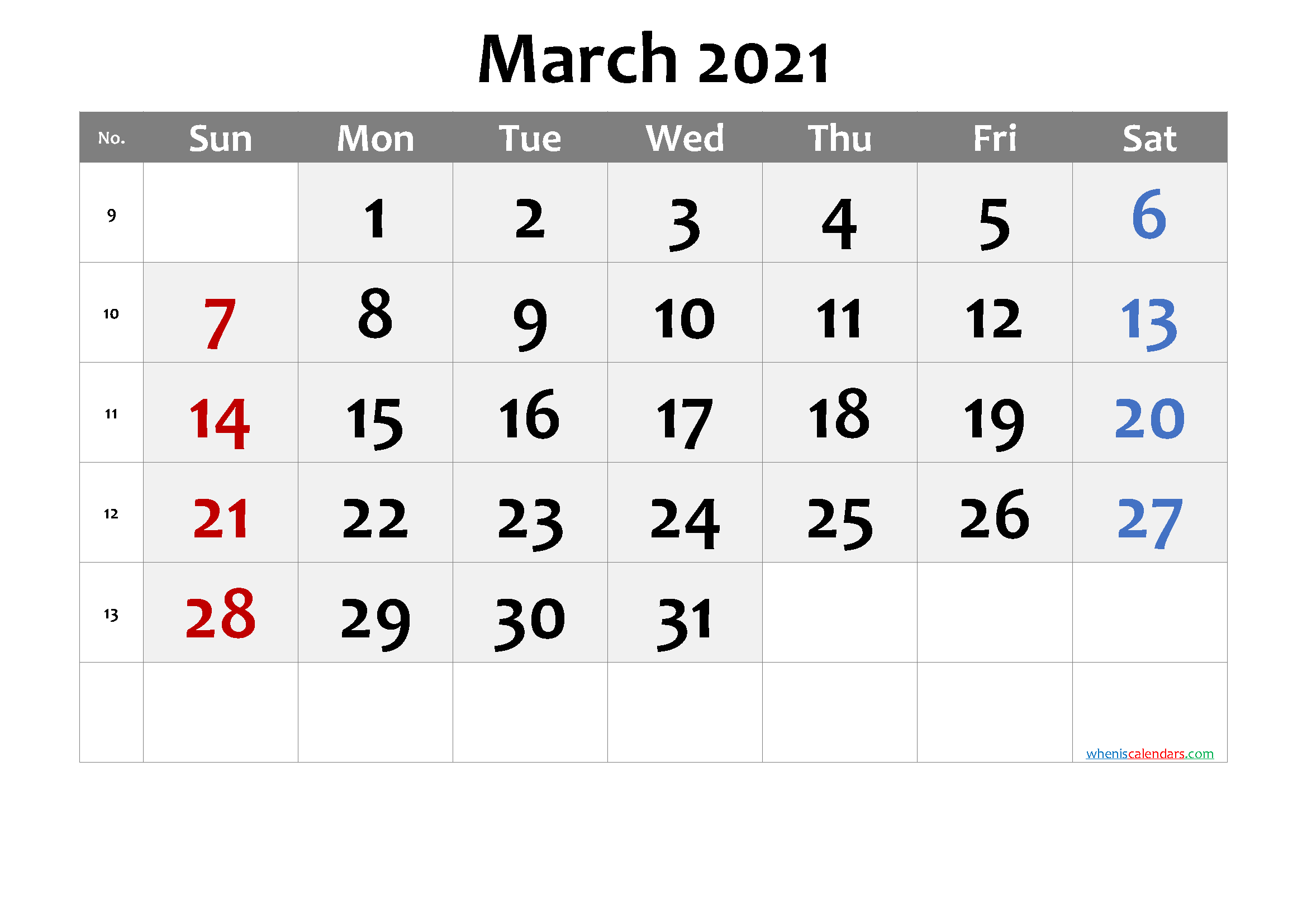 March 2021 Printable Calendar with Week Numbers [Free Premium