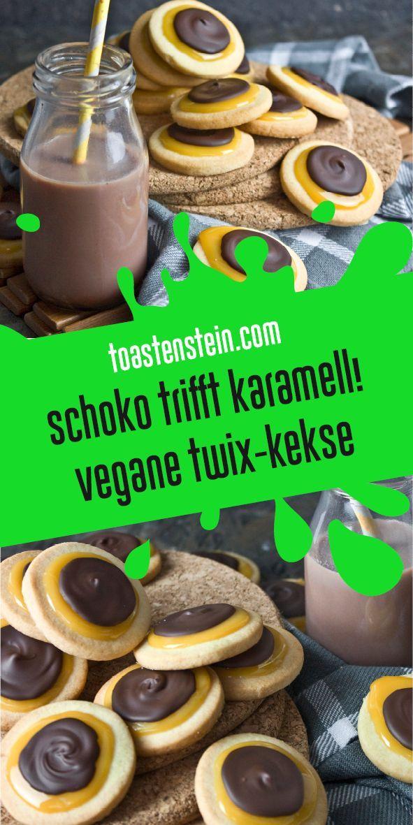 Schokolade trifft Karamell! – Vegane Twix-Kekse | Toastenstein.com #comfortfoods