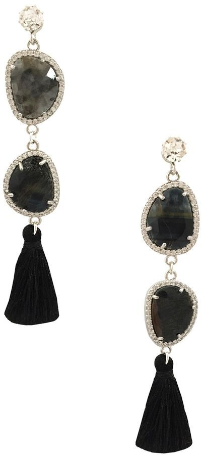 014a244b2 Katherine Karambelas Jewelry Women's Jackie Labradorite, Swarovski Crystal  & Silk Tassel Earrings
