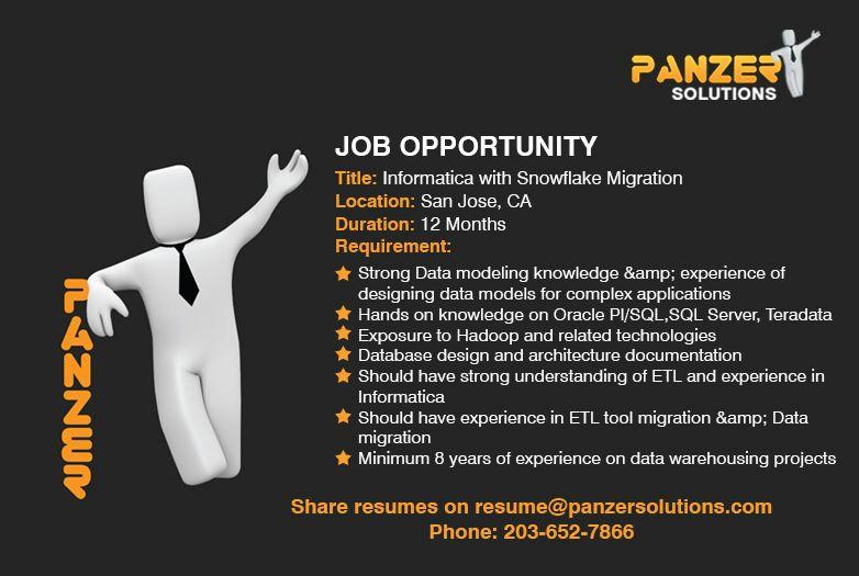Informatica with snowflake migration job opening job