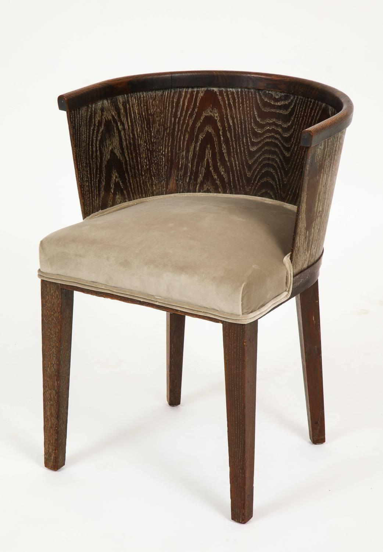 Majorelle Six Grey Cerused Oak Barrel Chairs Art Deco France 1920s 1930s