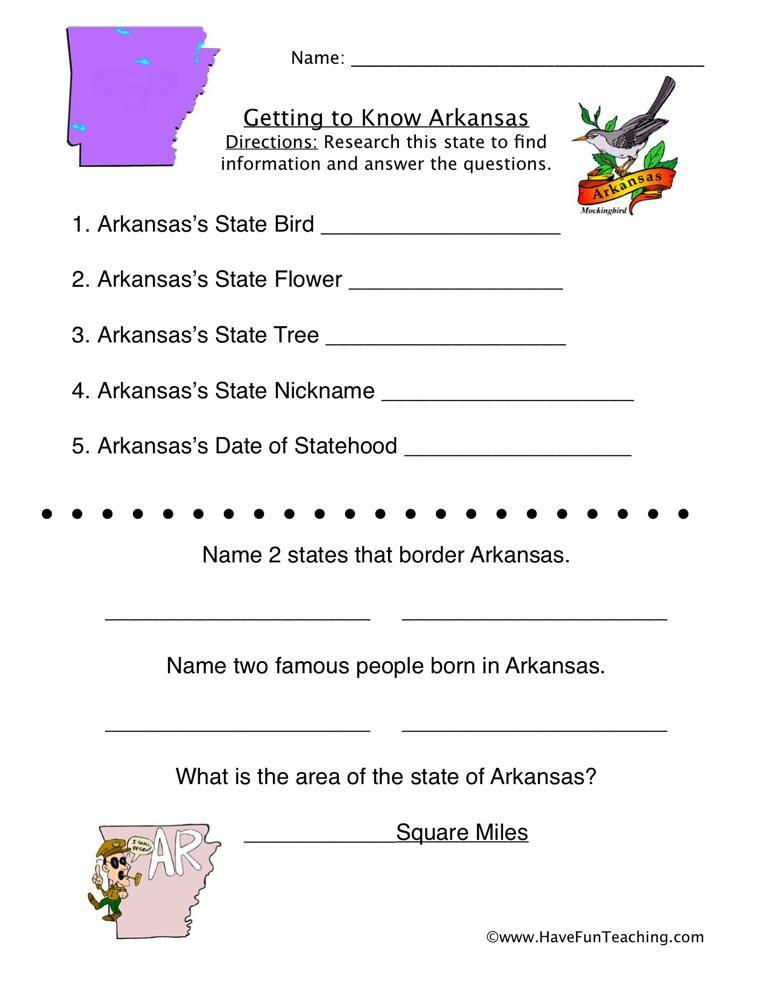 Arkansas Worksheet With Images Social Studies Worksheets