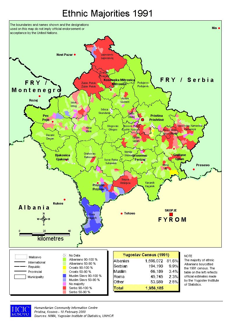 Kosovo Minorities 1991 Mapas Geografia Historia