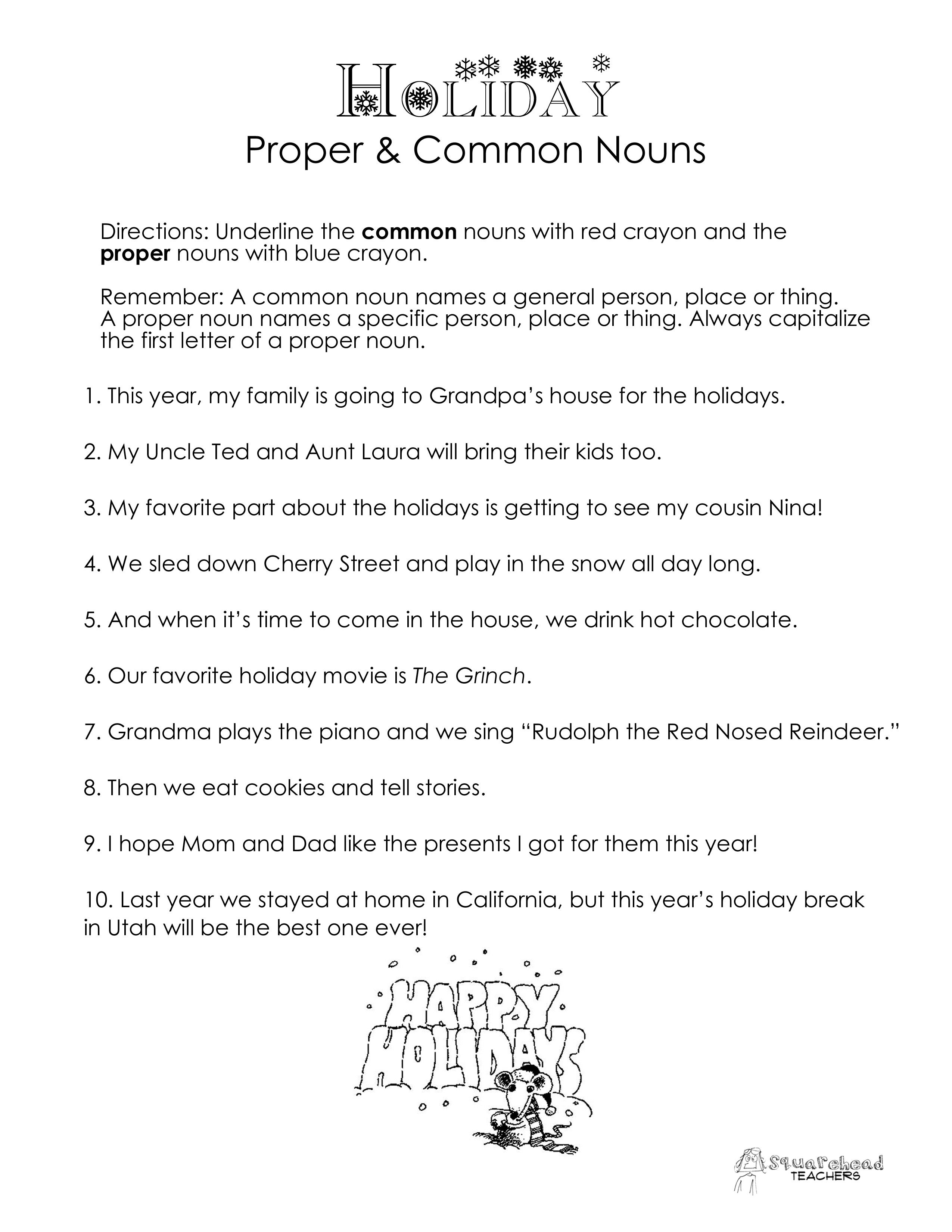 Another Common Vs Proper Nouns Worksheet But Winter