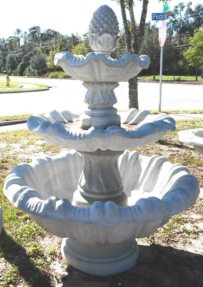 3 Tier Italian Pineapple Fountain Concrete Fountains Concrete Garden Fountain