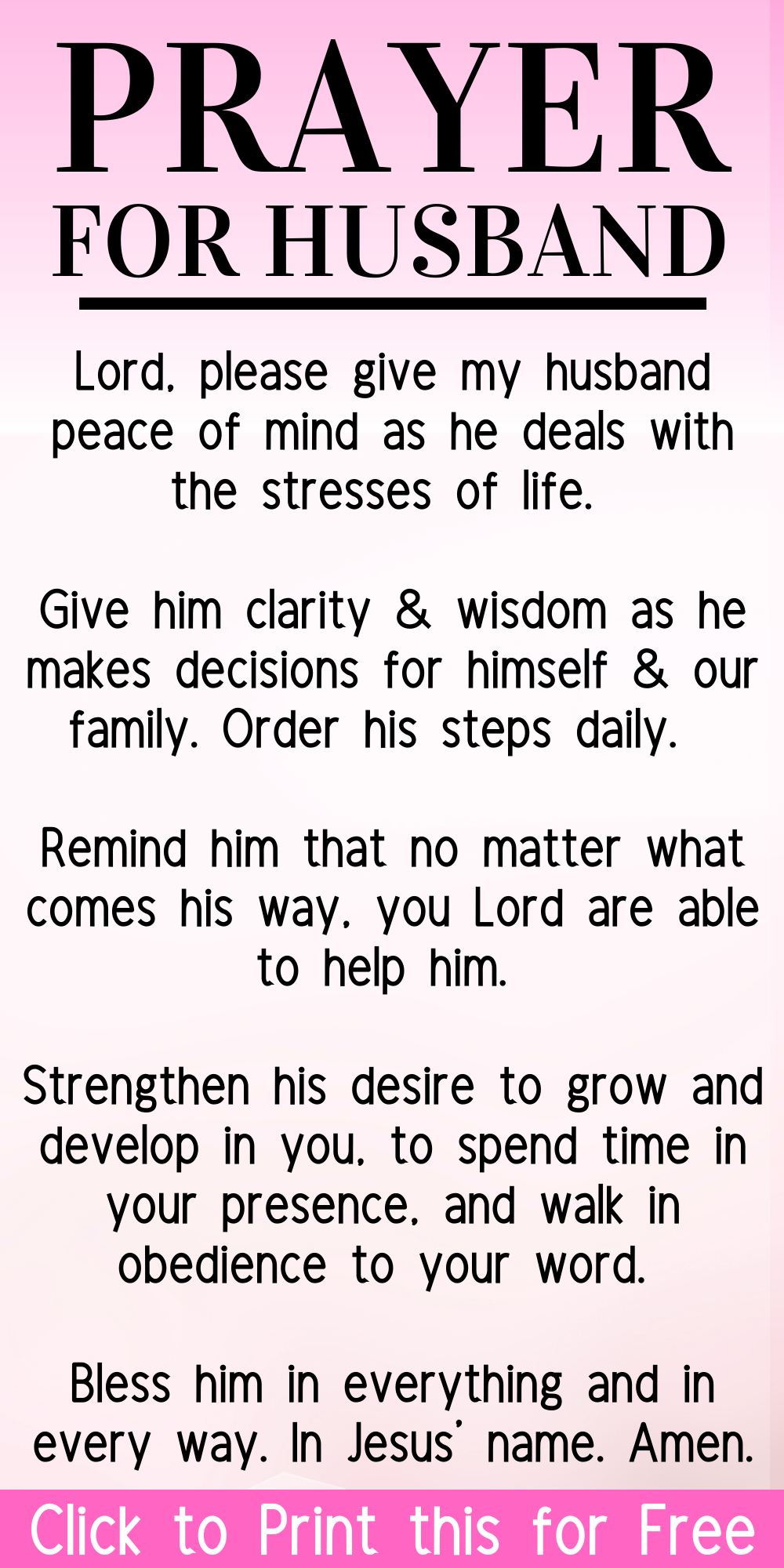 Prayer for your Husband (Print it for Free)