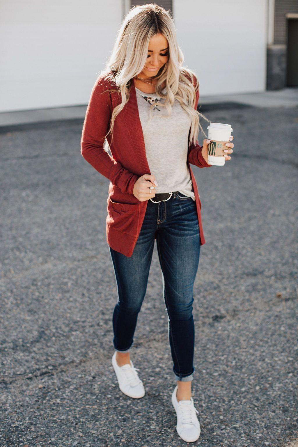 Lightweight Cuddle Cardigan Rust Red in 2020 | Cute casual