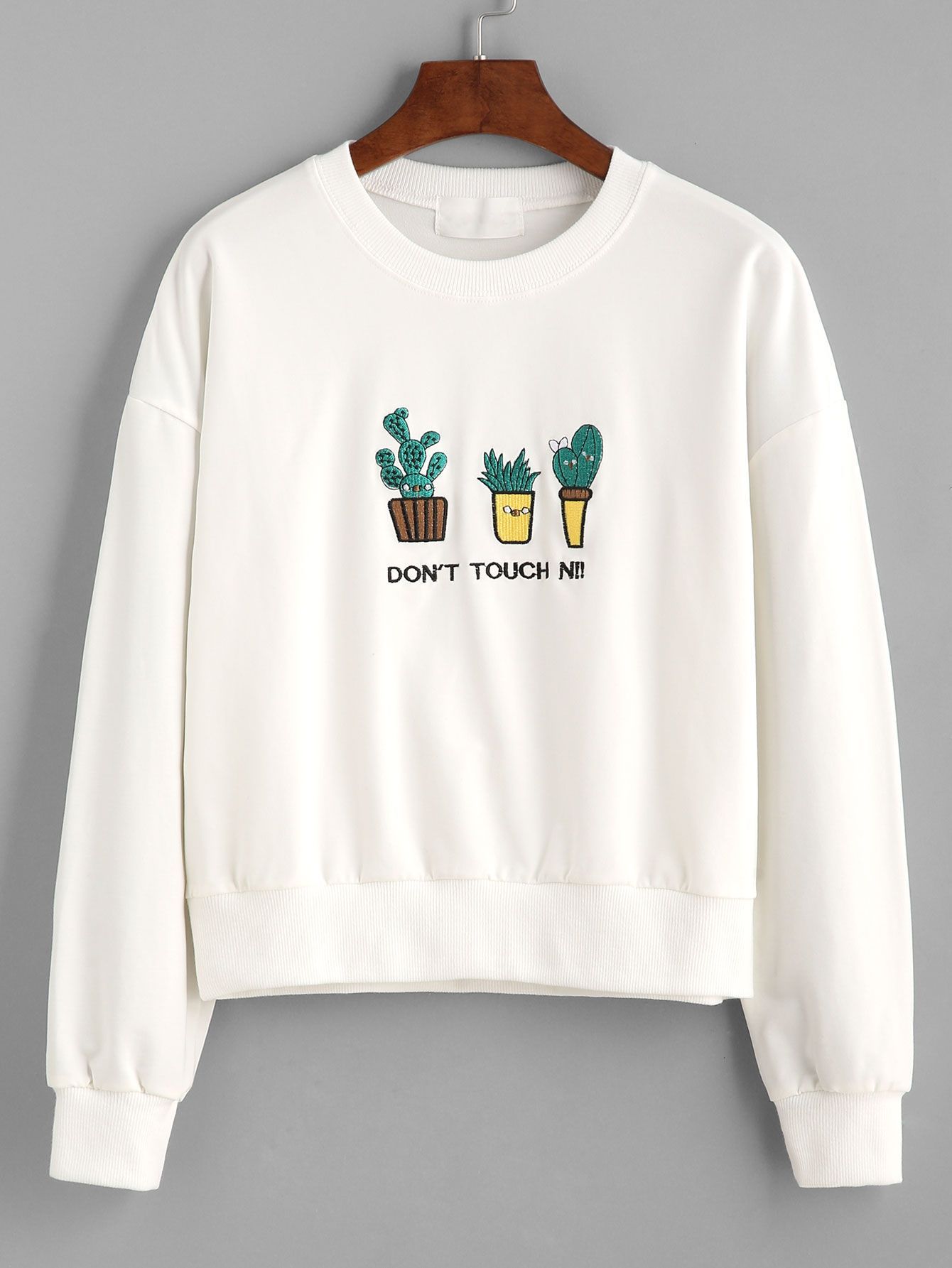 e759571c7295 White Letter And Cactus Embroidered Sweatshirt Mobile Site