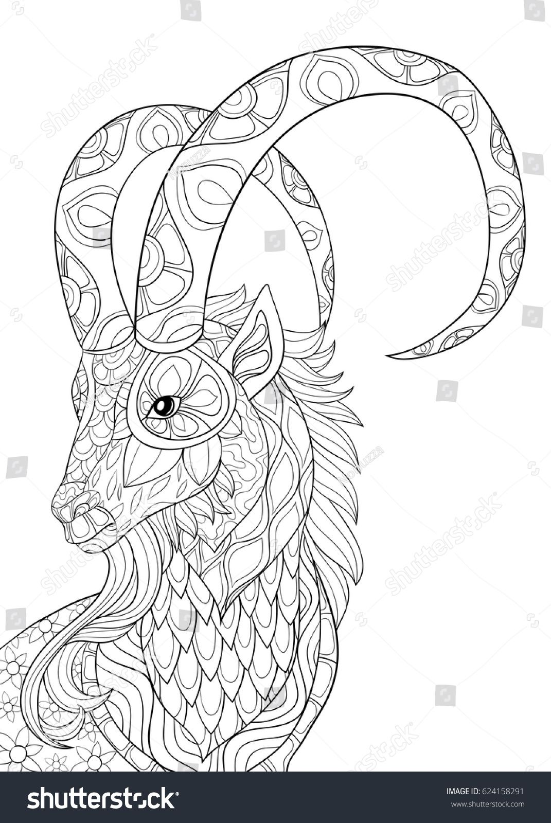 Adult coloring page goatZen art