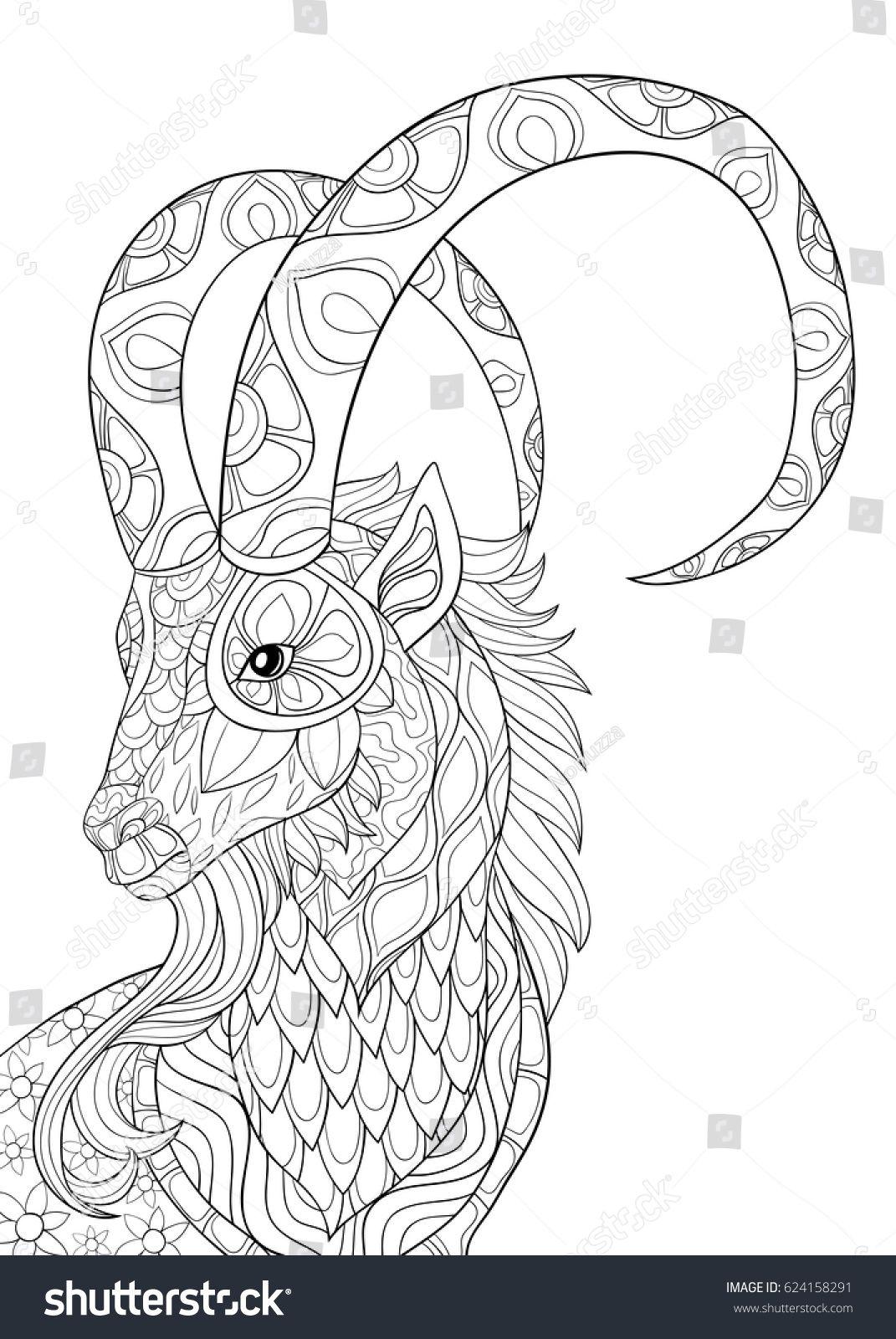 Adult Coloring Page GoatZen Art Style Illustration