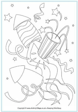 Rockets Colouring Page | Meads | Pinterest | Fuegos artificiales ...