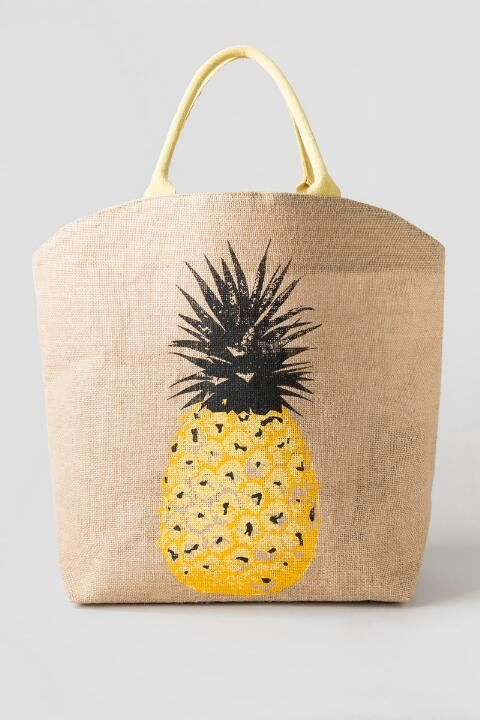 f576cb3c50af Orange   Gold Pineapple Print Straw Beach Bag With Rope Handles