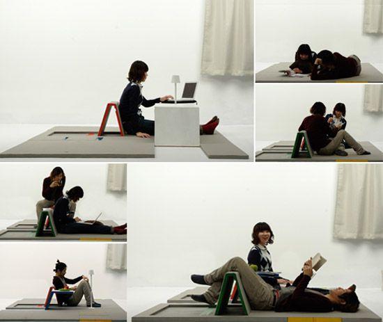 Land Peel lounge floor mat becomes a table, seat, backrest and - designer mobel timothy schreiber stil