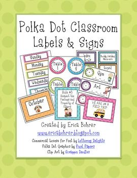 This 108 page download has everything you need to set up your polka dot themed classroom.  It includes monthly labels, days of the week, yesterday ...