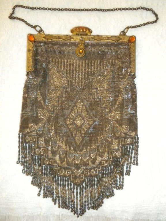 Vintage, multi-colored steel beaded bag. Jeweled brass frame & cabachon plunger opening, lined, looped & twisted fringe, exc condition.