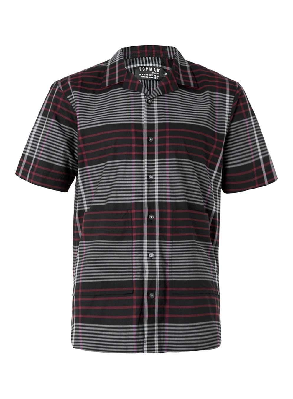 Black grey and red check short sleeve smart shirt
