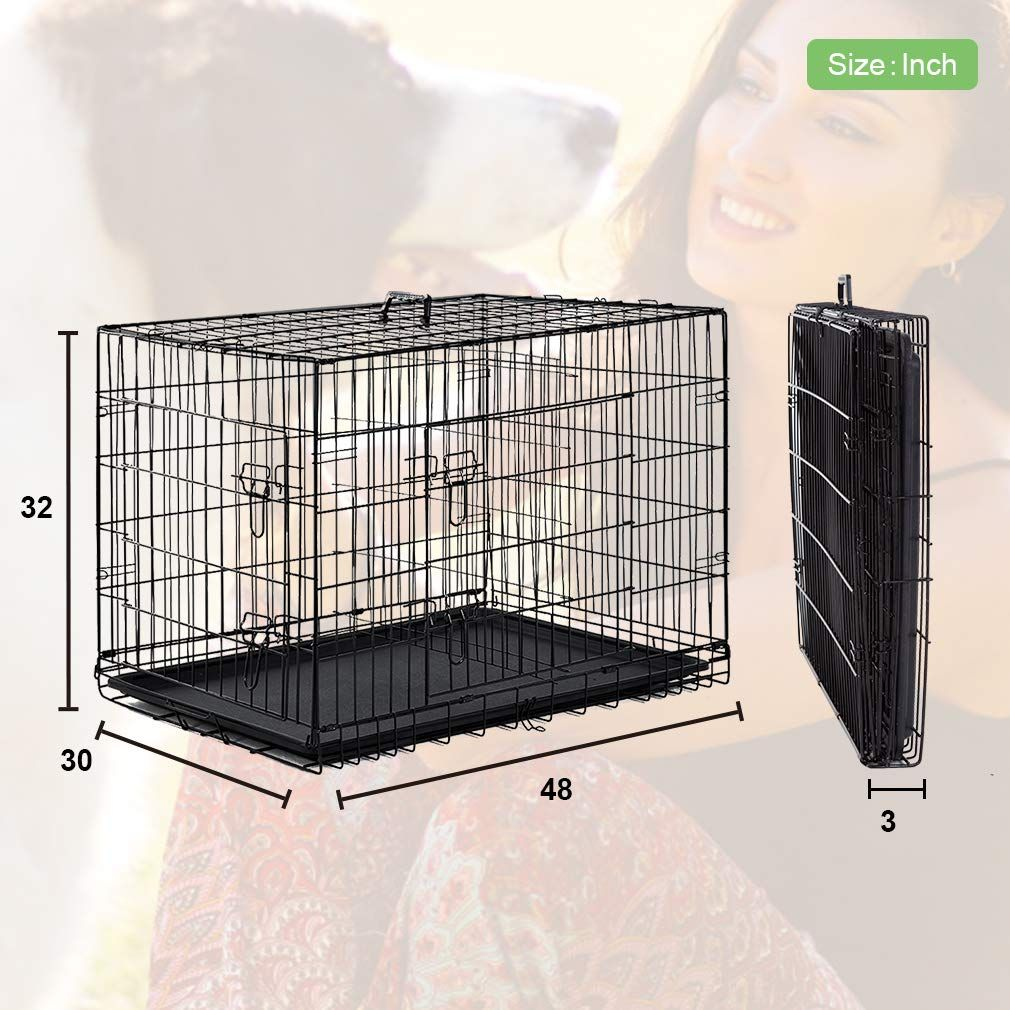 Bestpet Large Dog Crate Cage Metal Wire Kennel Doubledoor Folding Pet Animal Pet Cage With Plastic Tray And Handle 48 D Large Dog Crate Dog Cages Dog Crate