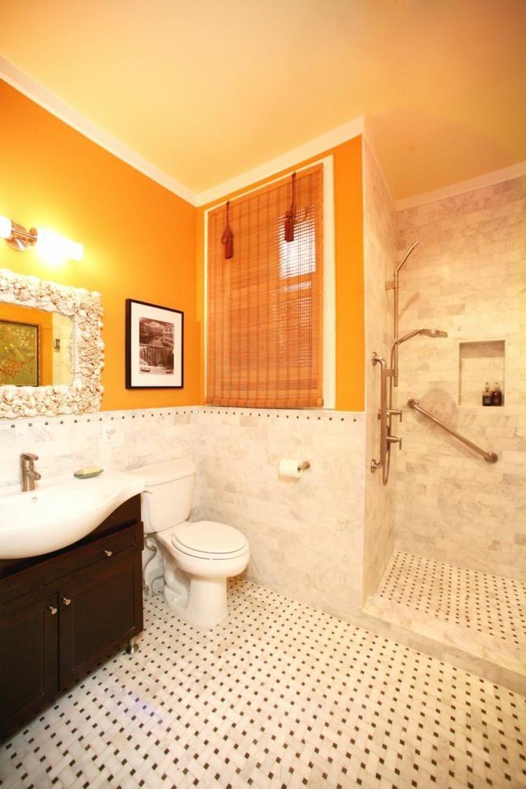 couleur salle de bains ides sur le carrelage et la peinture - Salle De Bain Orange Et Beige
