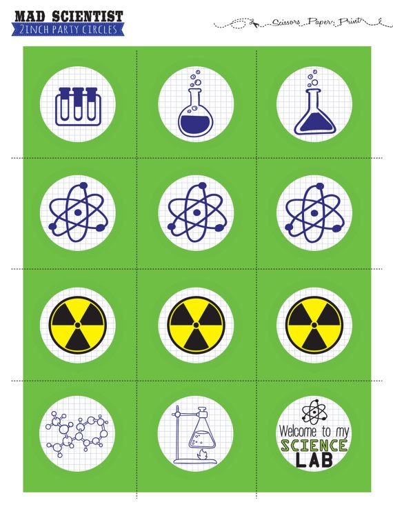 Mad Scientist cupcake topper  Science Party by ScissorsPaperPrint