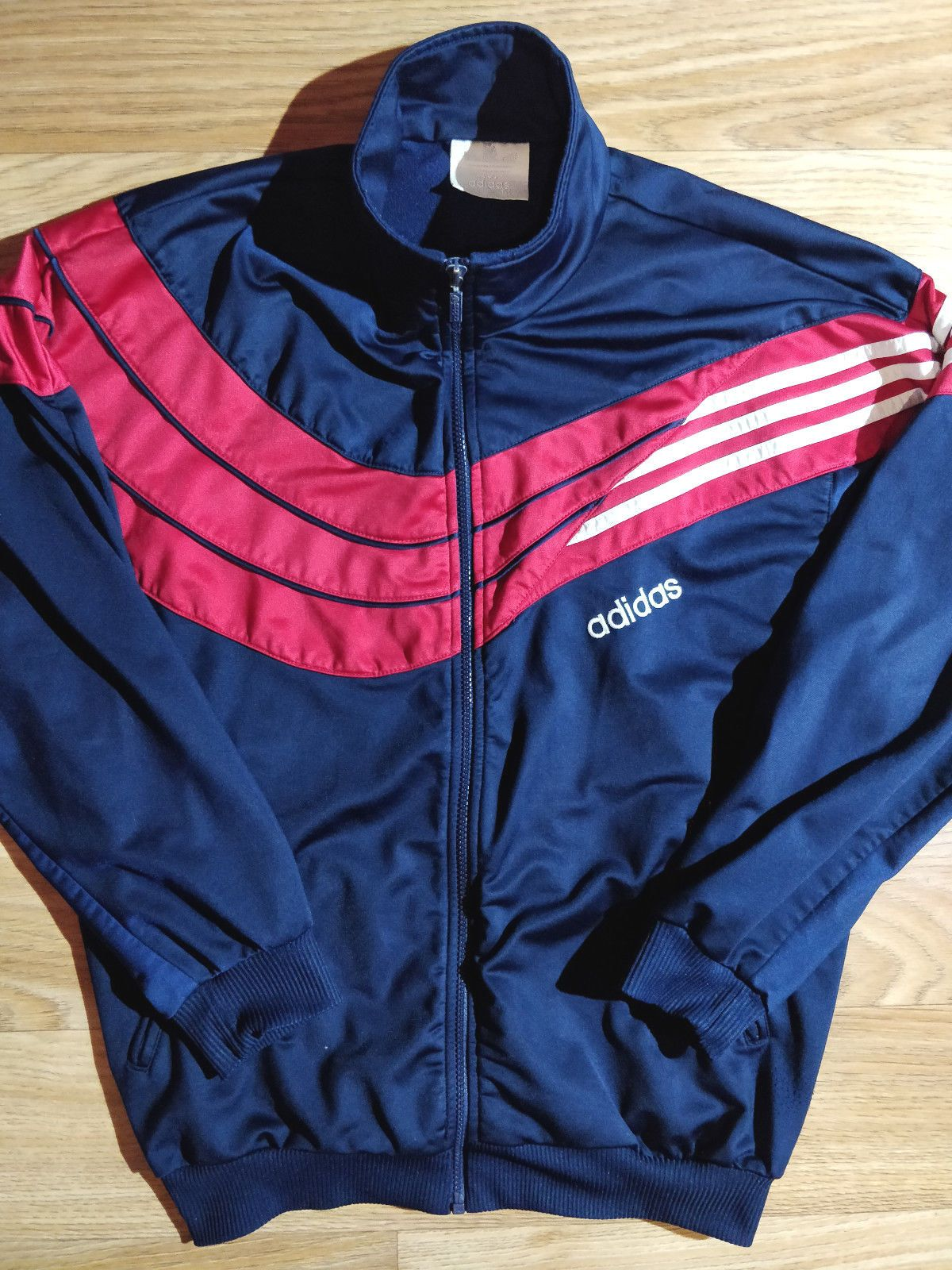 fea1ef5796d1 Adidas Originals 90 s Vintage Mens Tracksuit Top Jacket Navy Blue Red