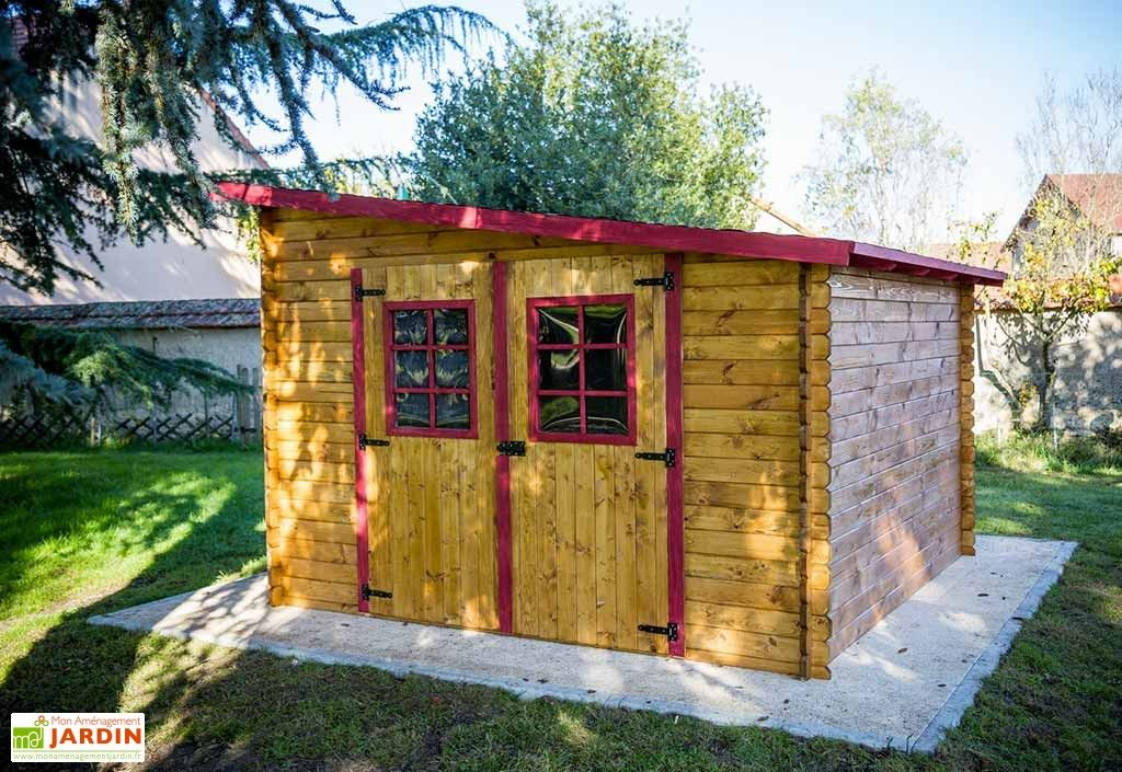 Abri de Jardin en Bois avec Toiture 1 pente 300x300cm (Sens au choix)
