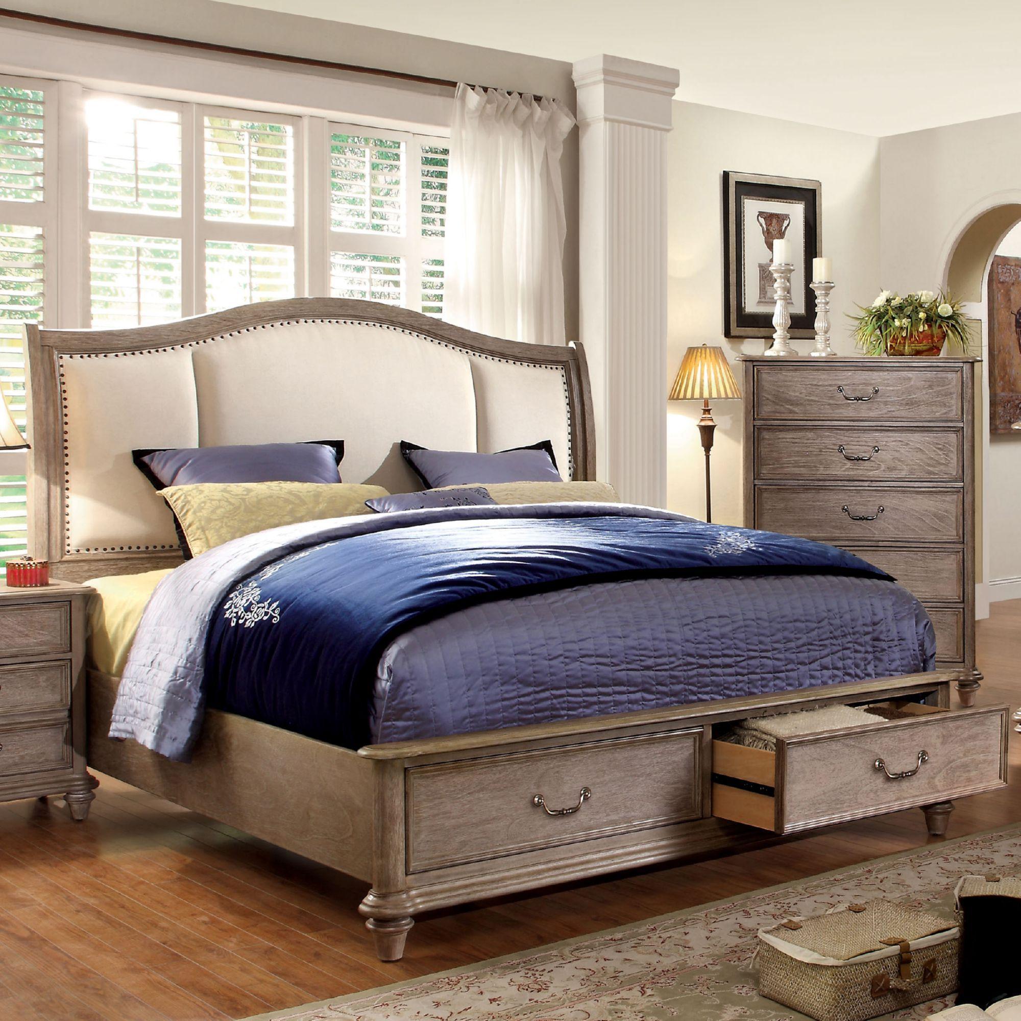 Furniture Of America Welton Rustic Storage Platform Bed W Fabric