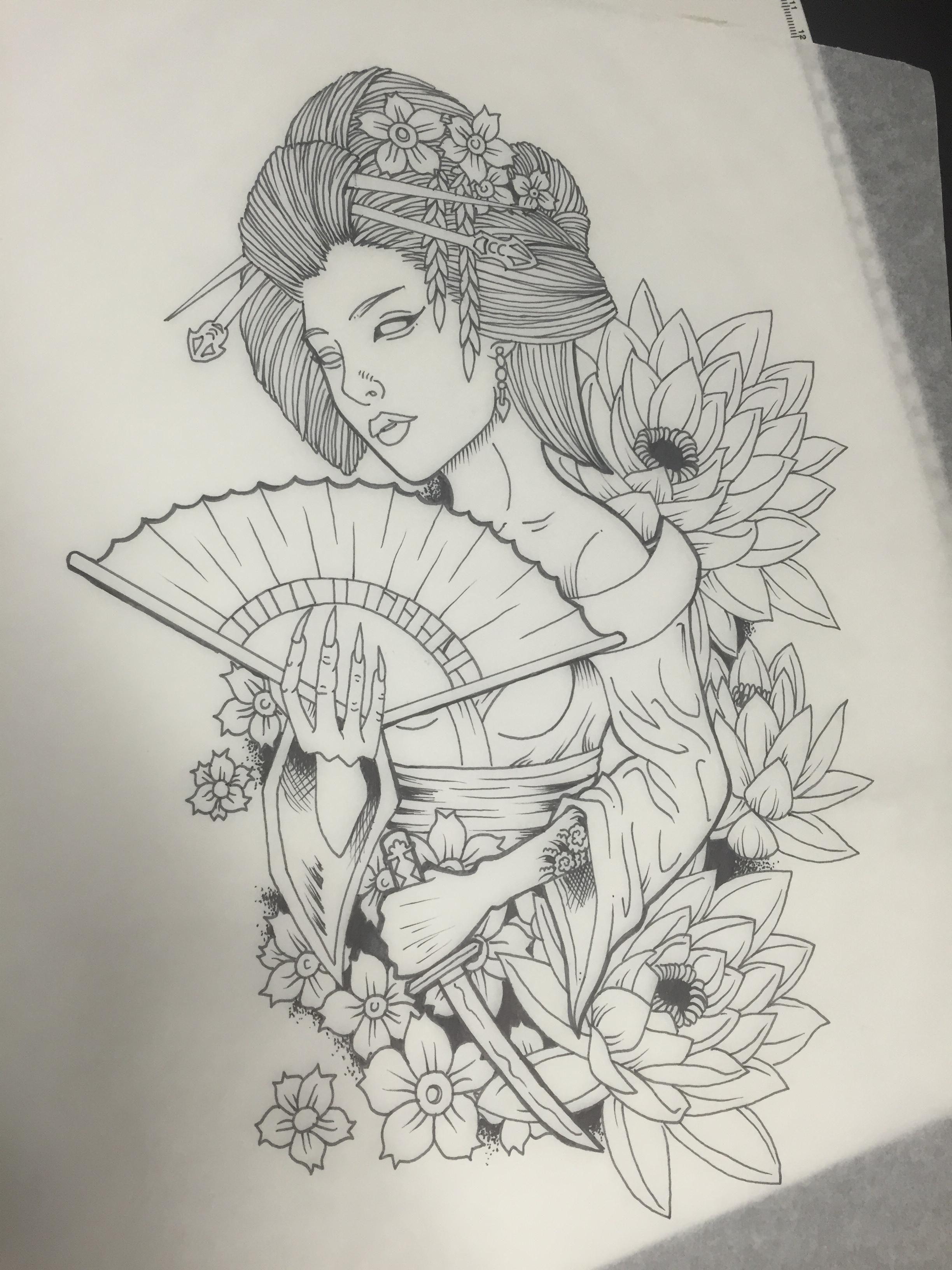 Pin De Gaabi Bizzi Em Futuras Desenho De Tatuagem De Gueixa