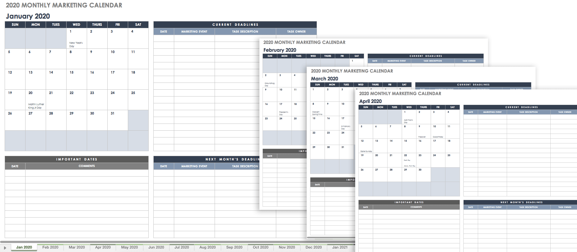 Social Media Calendar Spreadsheet