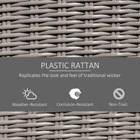5 PCs Outdoor Rattan Lounge Footstool Cooler Bar Coffee Table Conversation Set