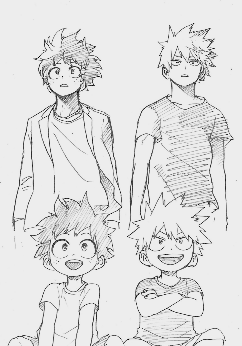 Izuku And Bakugou S Sketch By Horikoshi Anime Sketch Anime Character Drawing My Hero Academia Manga
