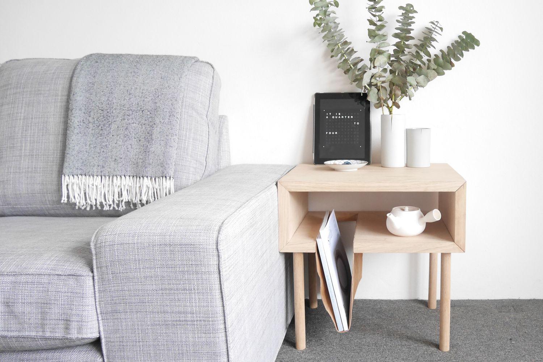 Nomad side table, Tasmanian Oak + leather sling Table
