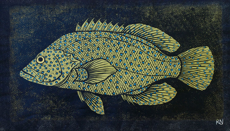 """shoal iii hand coloured linocut by rachel newling http"