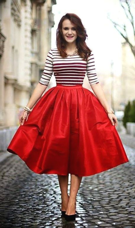 puffy red midi skirt outfit- Volume puffy midi skirt outfits http ...