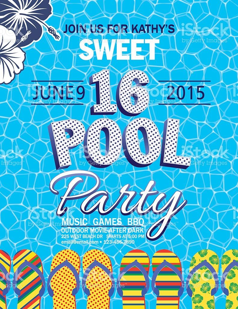 Sweet 16 pool party invitation with one blue and one white sweet 16 pool party invitation with water palm trees royalty free stock vector art monicamarmolfo Images