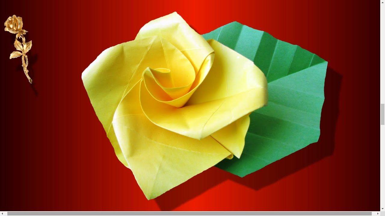 Origami facile : 🌹 Rose très très facile à plier en papier   Origami facile, Origami