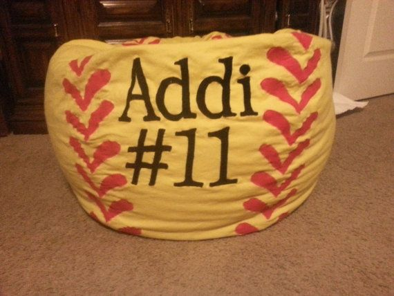 Personalized Softball Bean Bag Chair w Liner and by MMsHandmade – Personalized Bag Chairs