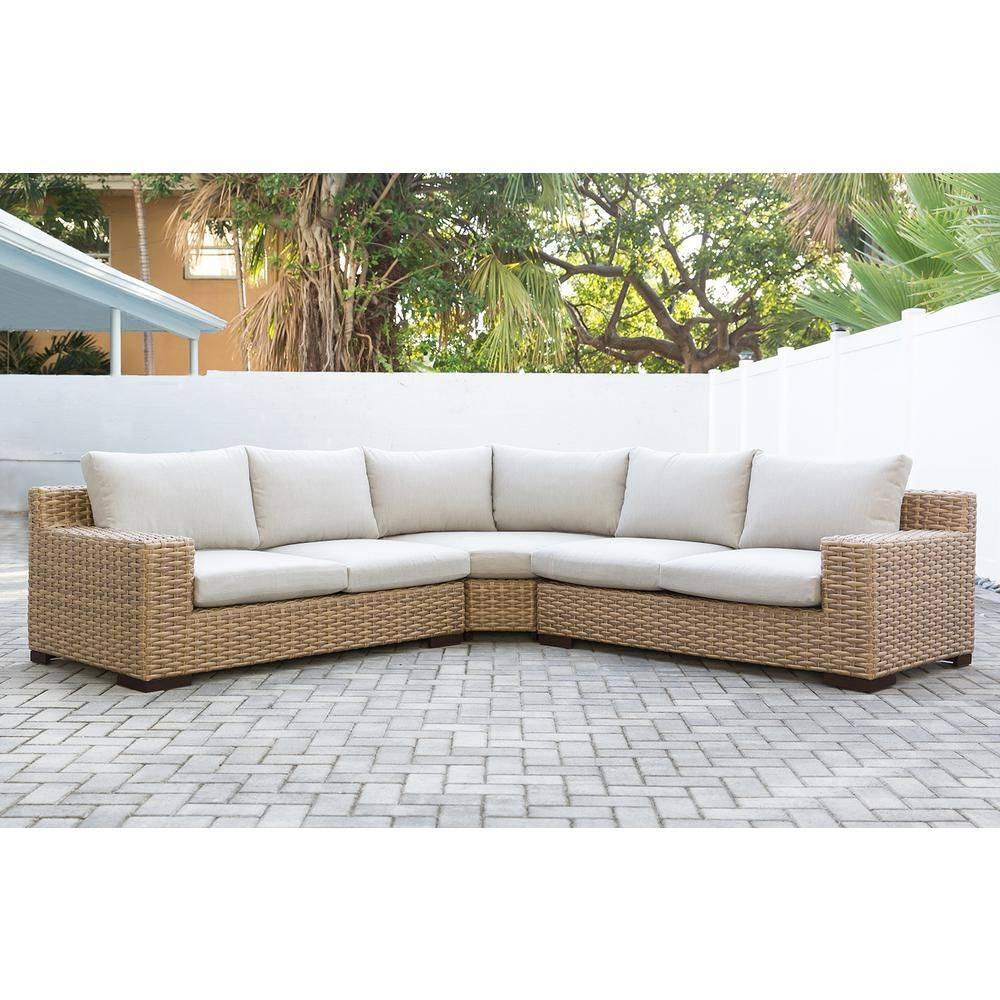 Patio Plus Cabana 3 Piece Wicker Outdoor Patio Sectional Seating Set With Beige Cushions Cab Sec 19 The Home Depot Patio Sectional Indoor Wicker Furniture Outdoor Sectional Couch