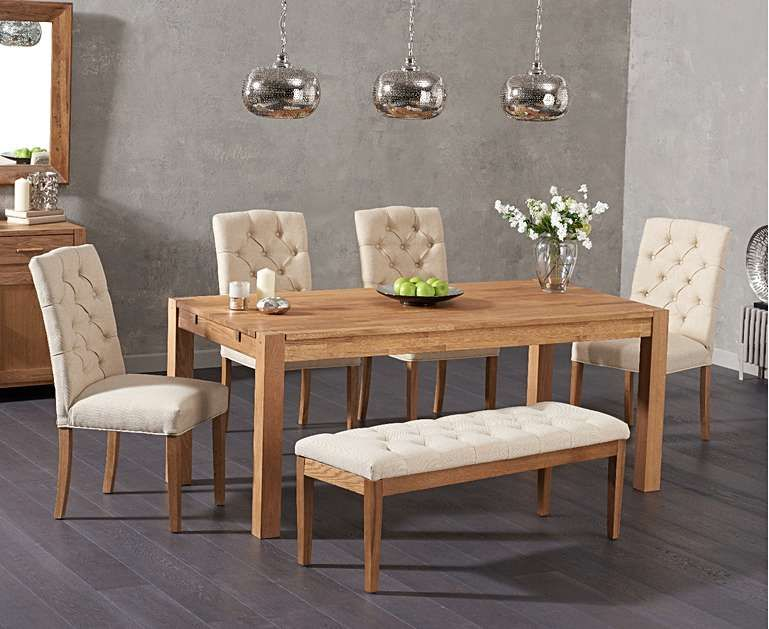 Verona 150cm Solid Oak Dining Table With Claudia Fabric Chairs And