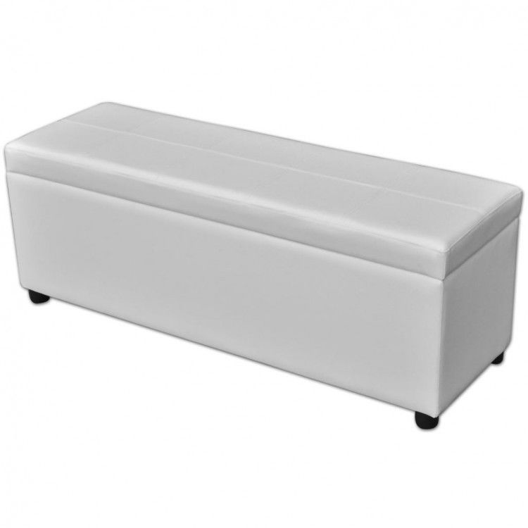 Entryway Wooden Bench Ottoman Seat White Storage Footstools