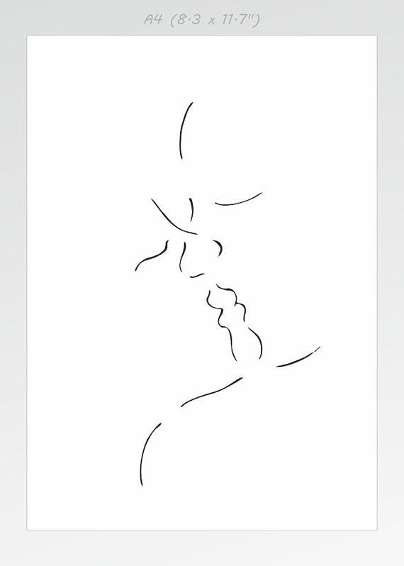 Modern minimalist line art print Lovers kissing ink drawing - lined paper with drawing box