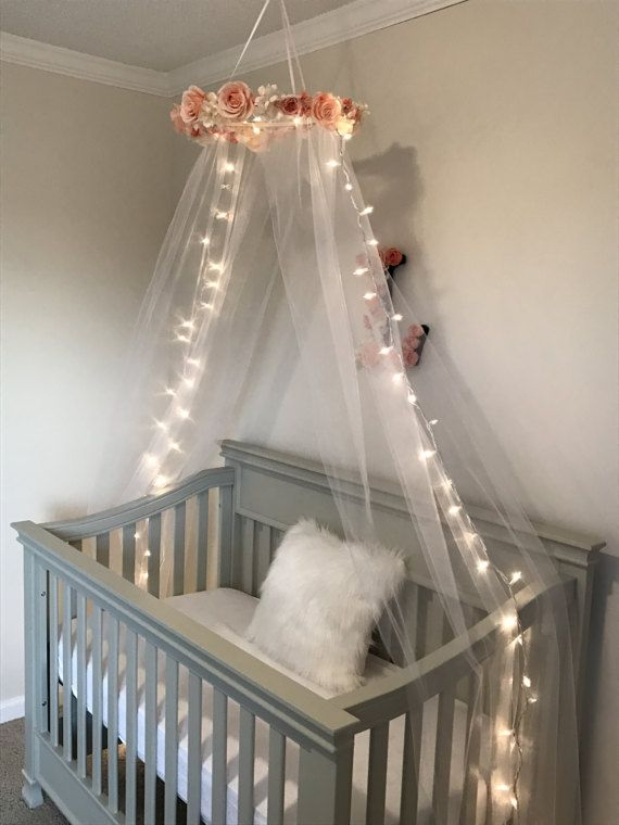 Pink Rose Crib Canopy Flower Canopy Girl Canopy Nursery : baby girl crib with canopy - memphite.com