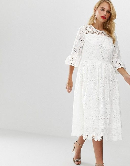 Asos Design Asos Design Broderie Smock Midi Dress With