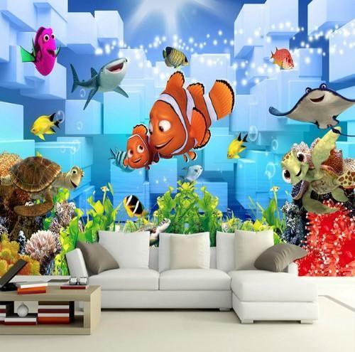 3d Underwater World Nemo Cartoon Wallpaper Mural For Kids Room