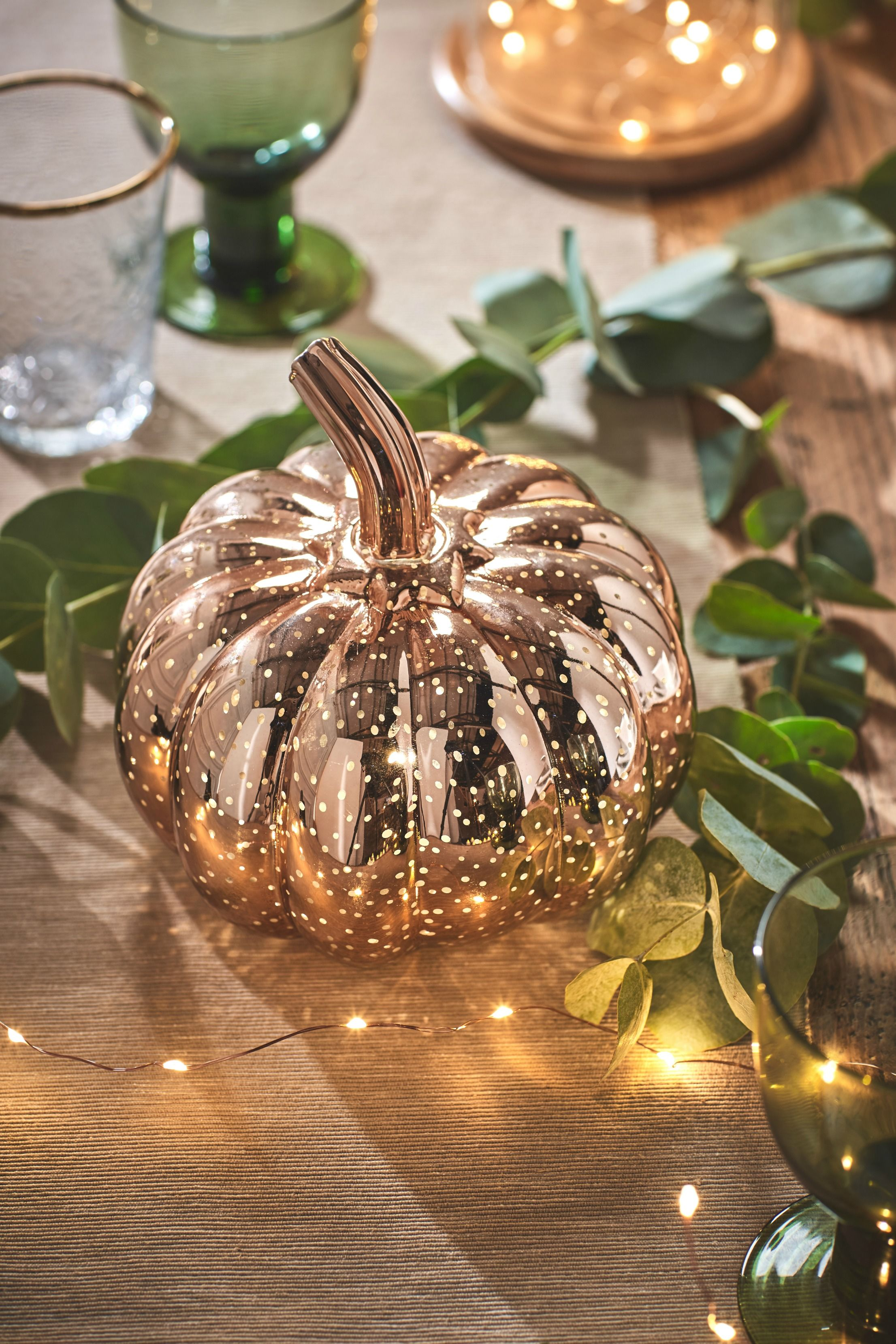 Our best selling rose gold pumpkin adds silhouettes of