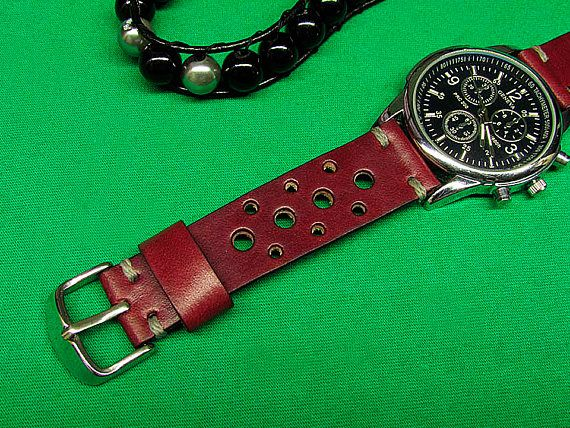018f9c419 Handmade Leather Watch Strap, Rally Watch Strap of Burgundy Leather, 22mm,  24mm, 18mm, 20mm, watch s