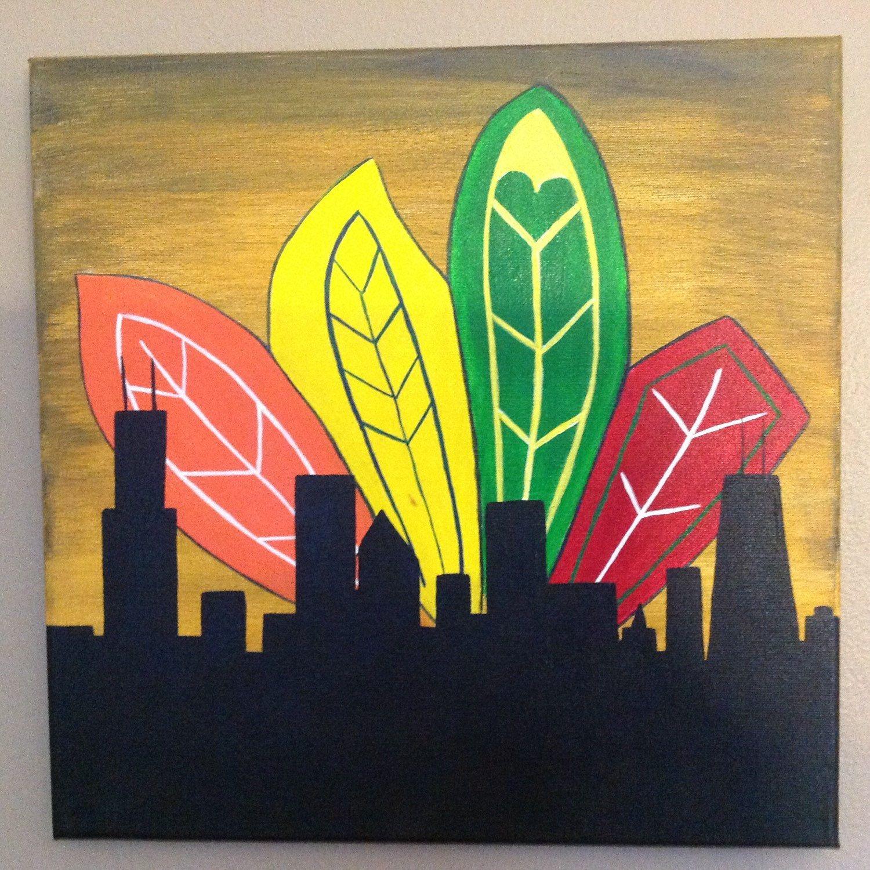 Chicago Blackhawks Cityscape Silhouette 12x12