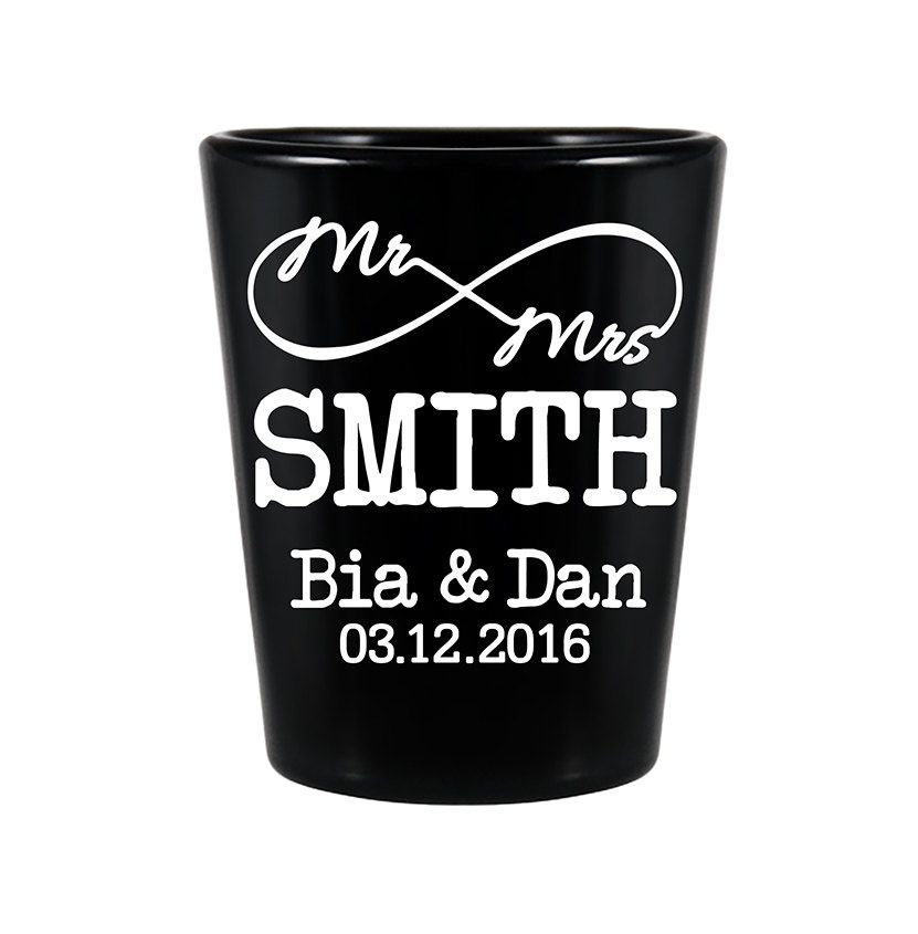 100x Customized Wedding Favors Black Shot Gles 1 5oz