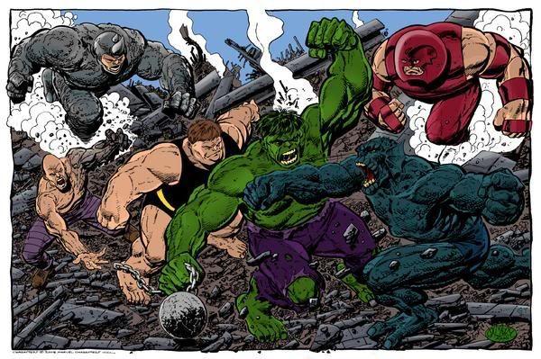 Red Hulk Vs Trion Juggernaut: Hulk Vs. Rhino, Blob, Juggernaut, & Abomination